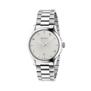 Gucci Women's Signature Silver Bracelet Watch YA1264028, Silver 38mm