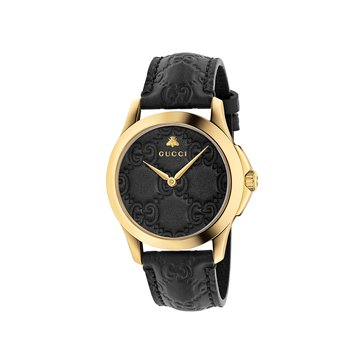 Gucci Women's G-Timeless Black Leather Watch YA1264034, Black 38mm