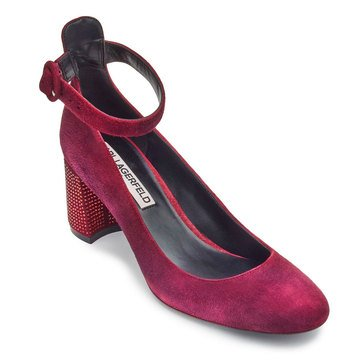Karl Lagerfeld Solaine Women's Ankle Strap Heel Dress Shoe Oxblood