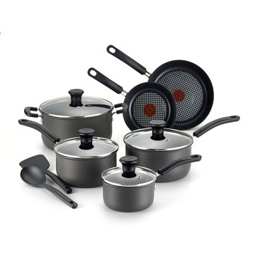 T-Fal Signature 12-Piece Hard Anodized Cookware Set, Grey