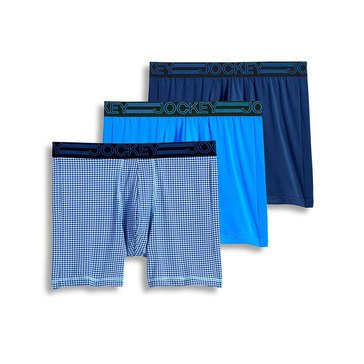 Jockey Active Micro Midway Boxer Brief 3-Pack - Blue Assorted
