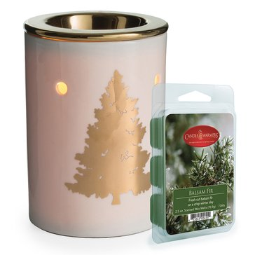 Candle Warmers Golden Tree with Balsam Fir Melts Bundle