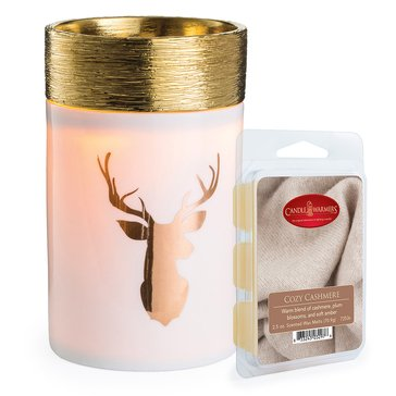 Candle Warmers Golden Stag with Cozy Cashmere Melts Bundle
