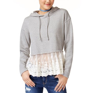 American Rag Lace Trim Twofer Hoodie in Heather Grey
