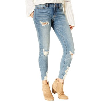 American Rag Skinny Destructed Lightning Hem Denim in Parkridge Wash