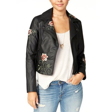 American Rag Pleather Moto Jacket with Floral Embroidery in Classic Black