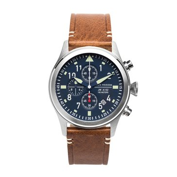 Jack Mason Men's Aviator Stainless Steel/Saddle Leather Chronograph Watch, 42mm
