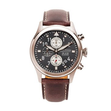 Jack Mason Men's Aviator Rose Gold/Brown Leather Chronograph Watch, 42mm