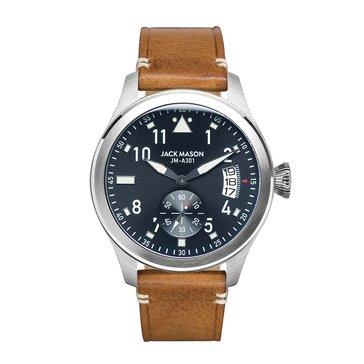 Jack Mason Men's Aviator Stainless Steel/Tan Leather Watch, 45mm