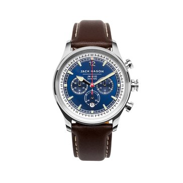 Jack Mason Men's Nautical Stainless Steel/Dark Brown Leather Chronograph Watch, 42mm