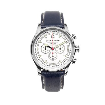 Jack Mason Men's Nautical Stainless Steel/Navy Leather Chronograph Watch, 42mm