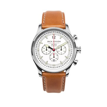 Jack Mason Men's Nautical Stainless Steel/Tan Leather Chronograph Watch, 42mm