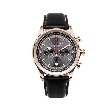 Jack Mason Men's Nautical Rose Gold/Black Leather Chronograph Watch, 42mm