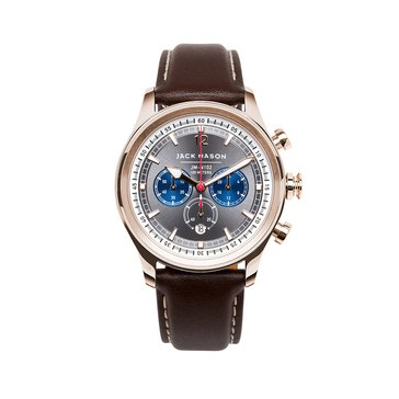 Jack Mason Men's Nautical Rose Gold/Brown Leather Chronograph Watch, 42mm
