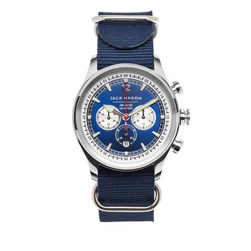 Jack Mason Men's Nautical Stainless Steel/Navy Nato Chronograph Watch, 42mm