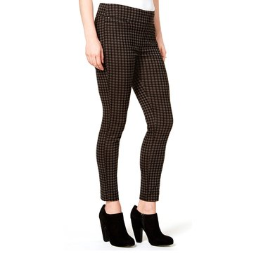Maison Jules Pant Houndstooth Pull On Bengaline in Urban Olive