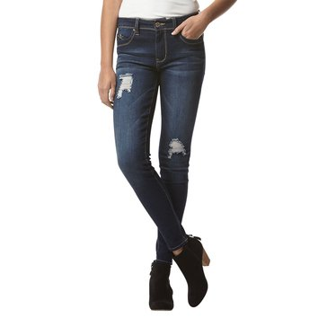 YMI Wanna Betta Butt Mid-Rise Destructed Skinny Dark Wash