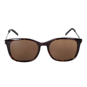 Saint Laurent Men's Square Frame Sunglasses, Shiny Light Havana/ Brown Gradient 53mm