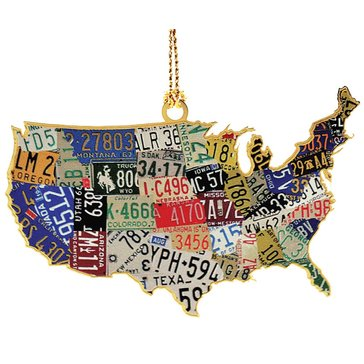 Chemart U.S.A. License Plate Map Ornament