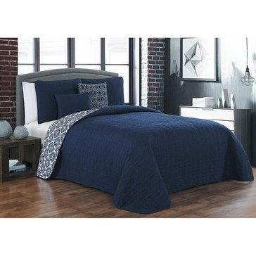 Sage Navy 5-Piece Reversible Quilt Set - King