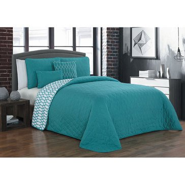 Jamison Teal 5-Piece Reversible Quilt Set - King
