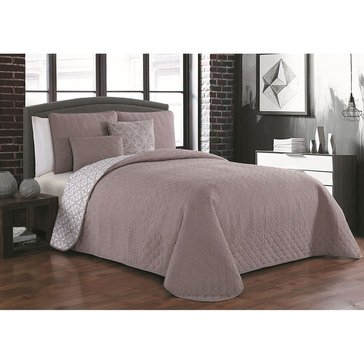 Tasmin Taupe 5-Piece Reversible Quilt Set - Full/Queen