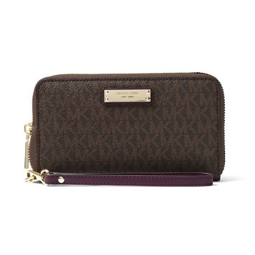 Michael Kors Wristlet Large Flat Multifunction Phonecase Brown Damson
