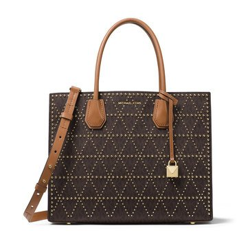 Michael Kors Mercer Stud & Grommet Large Convertible Tote Brown