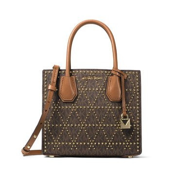 Michael Kors Mercer Stud & Grommet Medium Messenger Brown