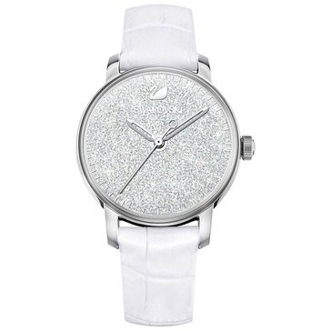 Swarovski Women's Crystalline Hours Q Watch, White Leather 38mm