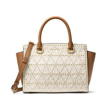Web Exclusive! Michael Kors Selma Medium Top Zip Satchel Vanilla