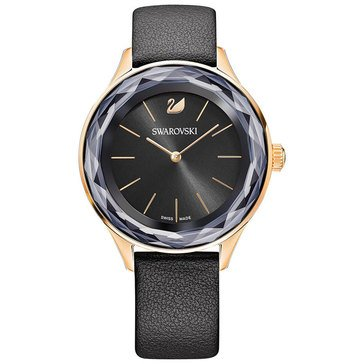 Swarovski Women's Octea Nova Watch, Rose Gold Tone/ Black Leather 36mm