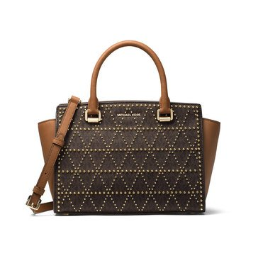 Michael Kors Selma Medium Top Zip Satchel Brown