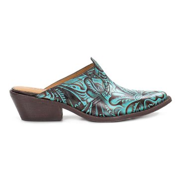Patricia Nash Battista Women's Western Tooled Mule Turquoise