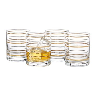 Martha Stewart Collection Gold/Silver Line Double Old Fashioned Glasses, Set of 4