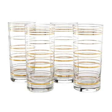 Martha Stewart Collection Gold/Silver Line Highball Glasses, Set of 4