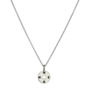 Dogeared Going Places Compass Necklace, Sterling Silver