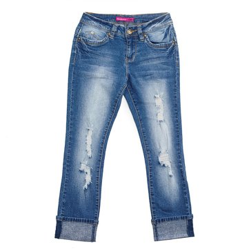 YMI Big Girls' Cuffed Skinny Destruct Jeans