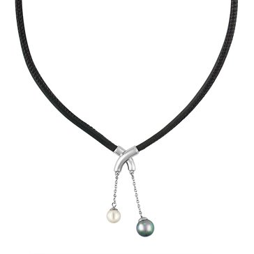 Majorica Isla Criss-Cross Simulated Pearl and Black Leather Necklace
