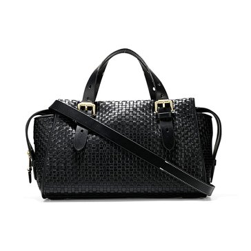 Cole Haan Loralie Weave Satchel Black