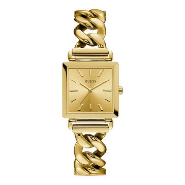 Guess Women's Vanity Square Gold Tone Chain Bracelet Watch