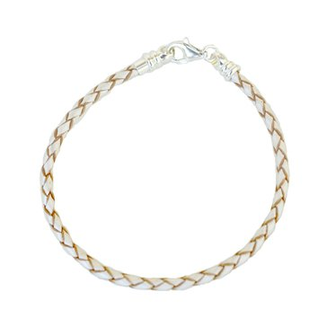 Nomades Braided Leather Bracelet, Pearl White