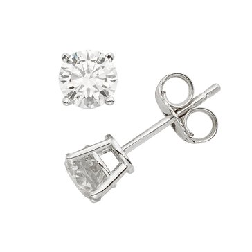 5/8 cttw Diamond Stud Earrings, 14K White Gold