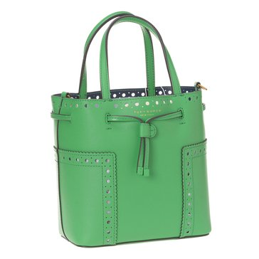 Tory Burch Brogue Mini Drawstring Tote CourtGreen/RoyalNavy