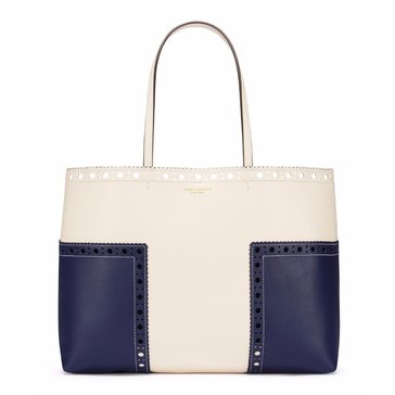 Tory Burch Brogue Tote RoyalNavy/NewIvory