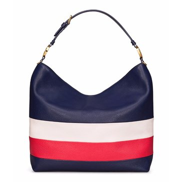 Tory Burch Stripe Hobo RoyalNavy/CherryApple/NewIvory