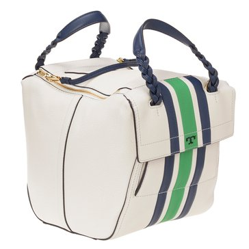 Tory Burch Half Moon Small Stripe Satchel New Ivory