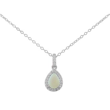 Opal and White Topaz Pendant, Sterling Silver, Special Purchase