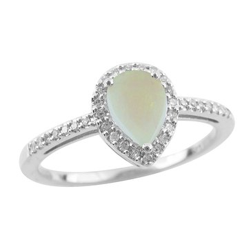 Opal and White Topaz Ring, Sterling Silver
