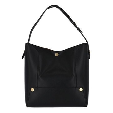 Stella McCartney Small Hobo Textured Eco After Neppa Popper Black